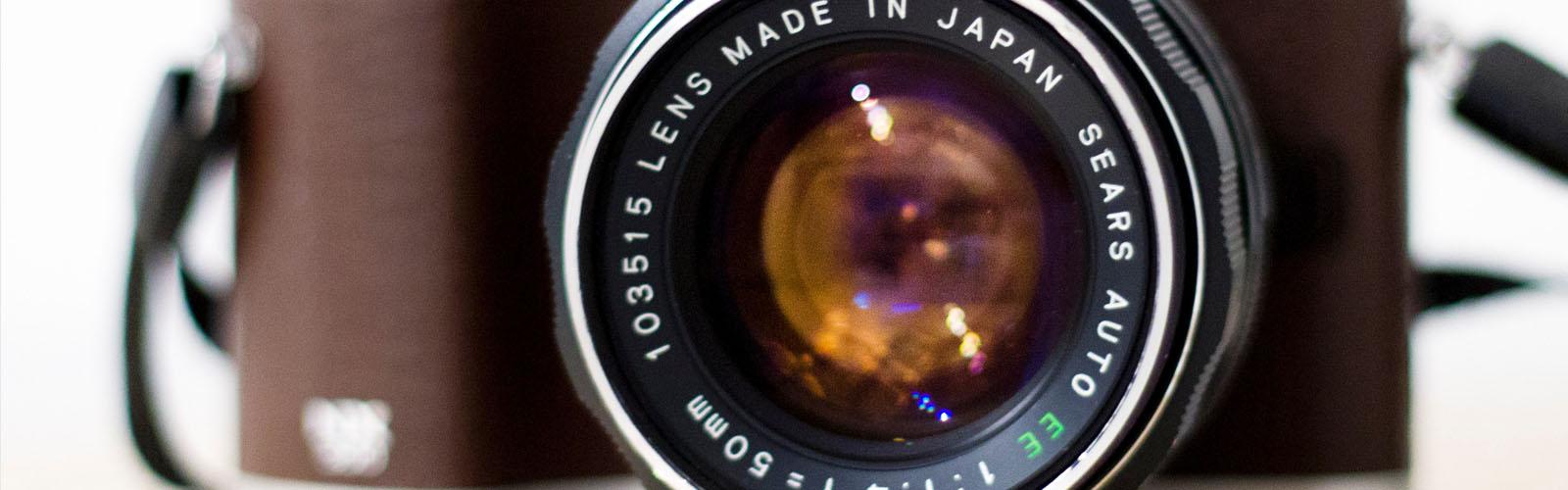 Camera lens closeup view
